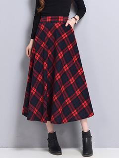 Women's Winter Skirt Two Tone Plaid High Waist Pleated A-Line Cotton Skater Dress