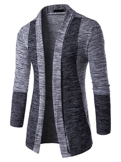 Men's Sweater Cardigan Grey Contrast Color Long Sleeve Fit Casual Knit Cardigan Coat
