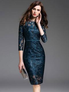 Women's Wrap Dress Lace Jewel Neck Bodycon Dress