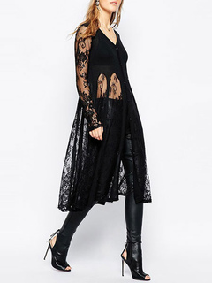 Lace Black Cardigan Long V-neck Women's Semi-Sheer Patchwork Sweater Cardigan