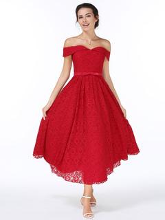 Vintage Style Lace Dress Off The Shoulder Burgundy Sash Skater Dress