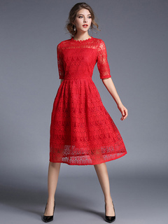 Red Lace Dress Vintage Style Half Sleeve Illusion A Line Skater Dress For Women