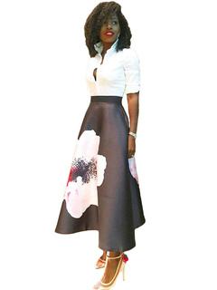 A Line Skirt Flower High Waist Full Skirt For Women
