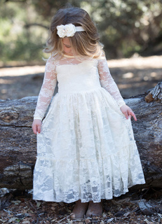 Boho Flower Girl Dress Lace Ivory Long Sleeve Pleated A Line Pageant Dress With Bowed Sash