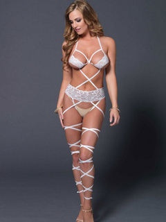 White Sexy Teddies Lace Halter Sleeveless Criss Cross Teddy Lingerie