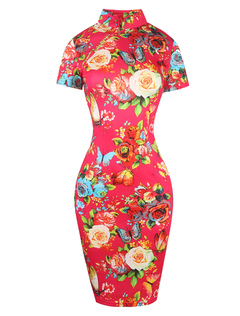 Red Vintage Dress Floral Printed Stand Collar Long Sleeve Slim Fit Bodycon Dress
