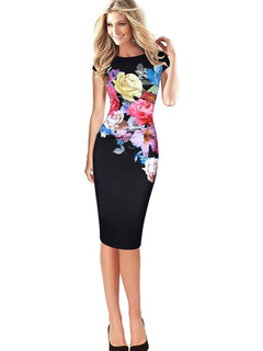 Black Bodycon Dress Round Neck Short Sleeve Floral Printed Slim Fit Sheath Dress