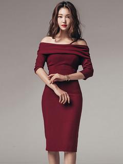 Bodycon Sweater Dress 3/4 Sleeve Off Shoulder Women's Burgundy Sheath Dress