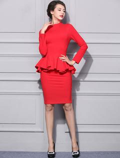 2 Piece Skirt Set Red High Collar Long Sleeve Ruffle Top With Bodycon Skirt