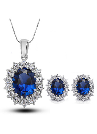 Wedding Jewelry Set Rhinestone Blue Pendant Necklace With Pierced Ear Stud