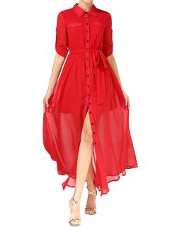 Red Chiffon Dress Women's Maxi Dress Button Split Long Shirt Dress With Sash