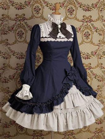 9c2df93b2be6 Classic Lolita Dress OP Stand Collar Irregular Ruffles Bow Dress In Deep  Blue