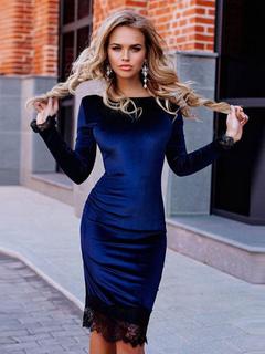 7c2d8e58fe1d Velluto vestito aderente pizzo divisa blu guaina abito per le donne ·  Anteprima Lista dei desideri