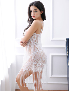 White Lace Babbydoll Set Sexy Fringe Semi Sheer Mini Dress Lingerie And T Back