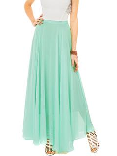 Green Maxi Skirt Comfy Pleated Long Skirt For Women