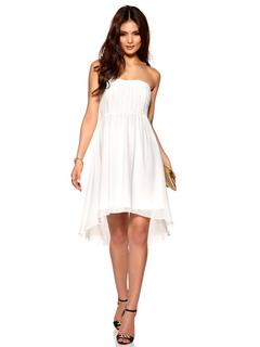 White Skater Dress Women's Strapless Sleeveless Pleated Flare Dress