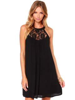 Black Shift Dress Lace Round Neck Sleeveless Short Dress