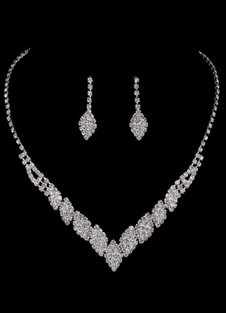 Bridal Jewelry Sets Silver Rhinestone Elegant Necklace And Earrings For Wedding