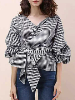 Strip Black Blouses Women's Puff Sleeve V Neck Bow Sash Oversize Top