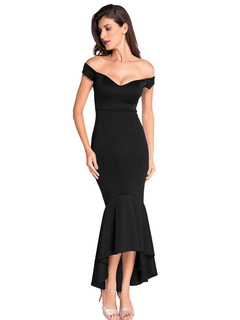 Sexy Bodycon Dress Black Off The Shoulder V Neck Sleeveless High Low Mermaid Evening Dress