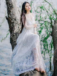 White Lace Maxi Dress Illusion Round Neck Long Sleeve Layered Sheer Dress
