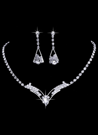 Vintage Wedding Jewelry Silver Bridal Necklace Set With Rhinestone Dangle Earrings