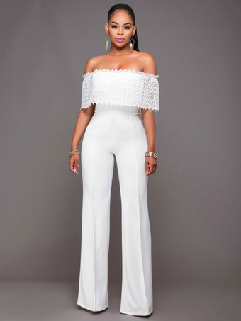 aa4fc953884 Long White Jumpsuit Women Off The Shoulder Wide Leg Jumpsuit