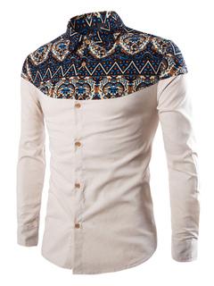 Men's White Shirts Ethnic Print Long Sleeve Cotton Casual Shirts