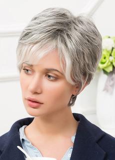 Human Hair Wigs Silver Grey Side Bang Layered Short Hair Wigs For Women