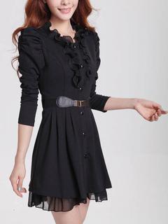 Black Skater Dress Women's Embellished Collar Juliet Long Sleeve Pleated Flare Dress