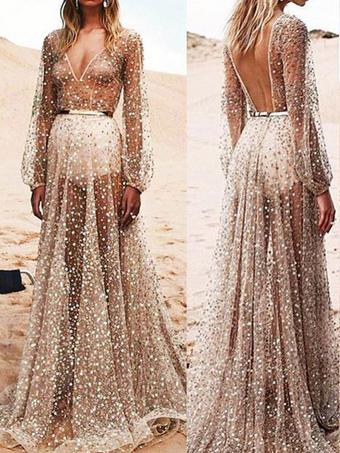 Sexy Maxi Dress Tulle Apricot V Neck Long Sleeve Sheer Floor Length Evening Dress
