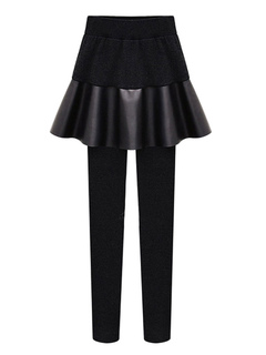 Black Skirt Leggings Fleece Lined Women's Ruffle Skinny Leggings