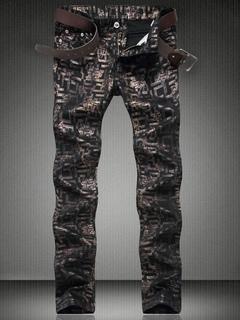 Printed Black Jeans Painted Men's Straight Leg Denim Jeans