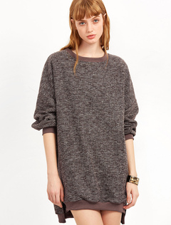 Khaki Sweater Dress Round Neck Long Sleeve Slit Knit Winter Dress