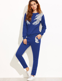 2 Piece Outfit Blue Round Neck Long Sleeve Printed Cotton Top With Pants