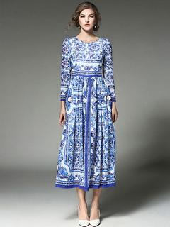 Blue Maxi Dress Chiffon Round Neck Long Sleeve Pleated Printed Long Dress