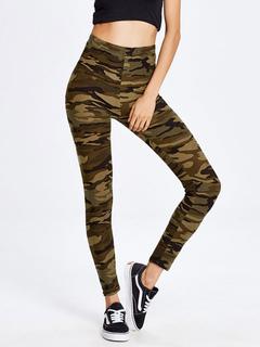 Women's Skinny Pants Hunter Green Camo Printed Elastic High Waist Cotton Sports Pants