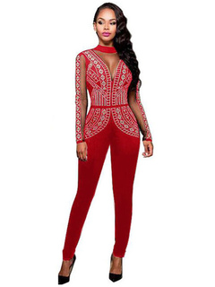 Skinny Red Jumpsuit Beaded Women's Illusion Long Sleeve High Collar Back Keyhole Long Jumpsuit