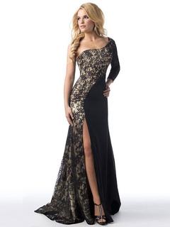 Maxi Black Dress Lace Patchwork One Shoulder Long Sleeve High Split Women's Floor Length Long Dress