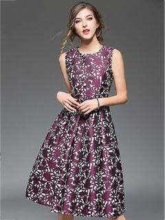 Vintage Skater Dress Printed Sleeveless Pleated Flare Summer Dress