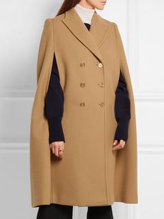 Poncho Wool Coat Women's Double Breasted Oversize Longline Poncho Cape Coat