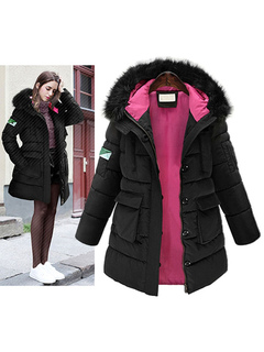 Winter Black Coat Quilted Women's Faux Fur Hooded Slim Fit Padded Puffer Coat