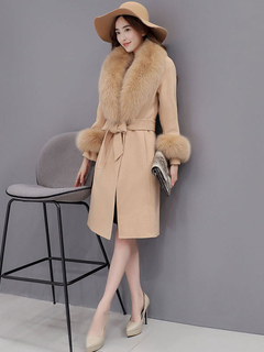 Women's Wool Coat Knee Length Faux Fur Collar Belted Coat In Light Tan