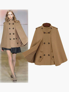Women Wool Coats Camel Peacoat Cape Jacket Poncho Long Sleeve Wrap Coat