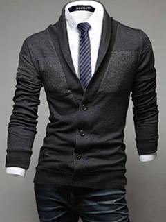 Dark Navy Buttons Cotton Blend Cardigan For Men