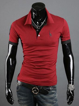 ada48a07f Camisa pólo de algodão da Marinha escuro manga curta masculino