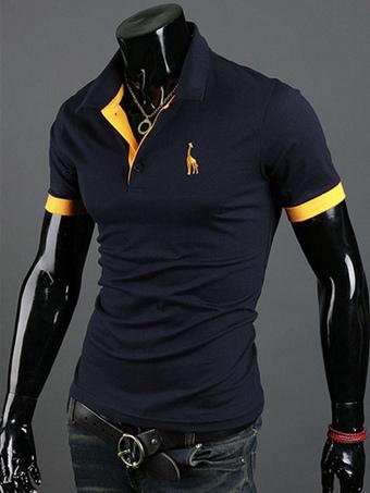 Dark Navy Cotton Short Sleeves Men's Polo Shirt