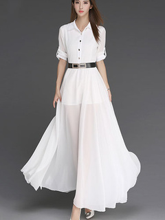 Women's 3/4 Length Sleeves Chiffon Belted Maxi Dress