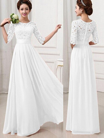 8257859e2 Maxi Dress 2019 White Long Dress Lace and Chiffon Women Prom Dress With  Sleeves