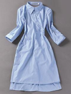 Light Blue Shirt Dress Buttons Cotton Shift Dress for Women